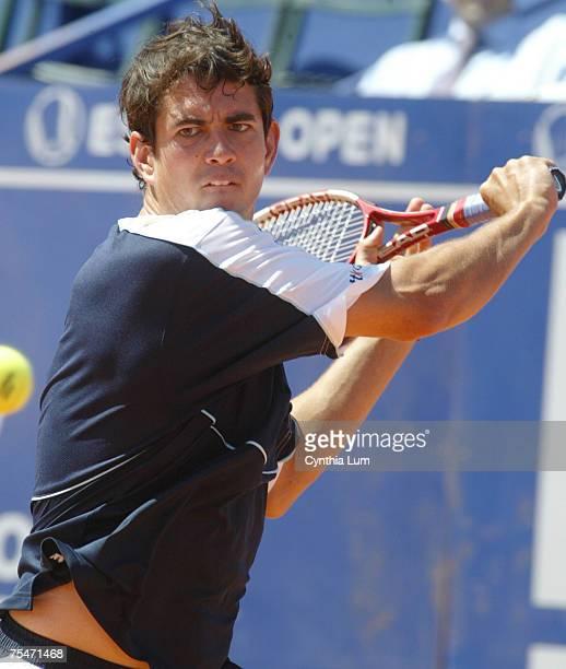 Spain's Guillermo GarciaLopez hits a return versus Carlos Moya 76 64 in the quarterfinals of the Estoril Open 2006 at the Estadio Nacional in Estoril...