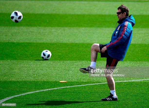 Spain's head coach Julen Lopetegui attends a training session at the Spanish Football Federation's Ciudad del Futbol in Las Rozas de Madrid on March...
