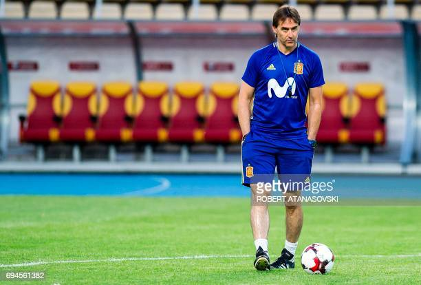 Spain's Head coach Julen Lopetegui takes part in a training session in Skopje on June 10 on the eve of the FIFA World Cup 2018 qualification football...