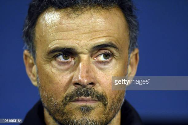 Spain's head Coach Luis Enrique looks on prior to the UEFA Nations League football match between Croatia and Spain at the Maksimir Stadium in Zagreb...