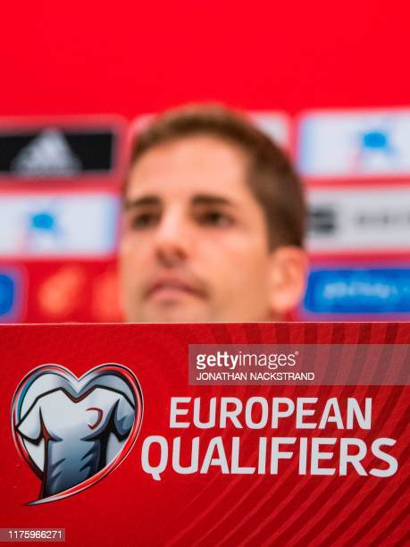 Spain's head coach Robert Moreno attends a press conference on the eve of the UEFA Euro 2020 qualifier Group F football match Sweden v Spain on...