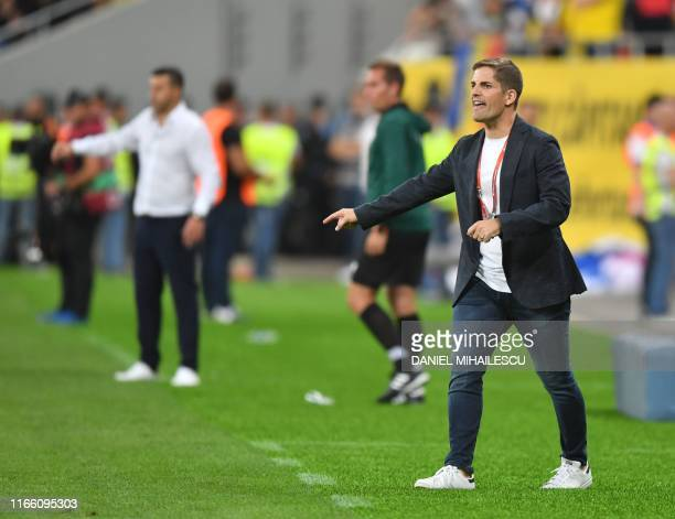 Spain's head coach Robert Moreno reacts from the sideline during the Euro 2020 football qualification match between Romania and Spain in Bucharest,...