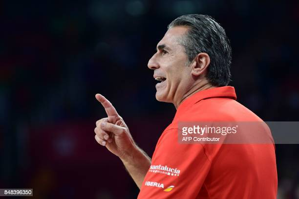 Spain's head coach Sergio Scariolo gestures during the FIBA Euro basket 2017 men's 3rd game match between Spain and Russia at Fenerbahce Ulker Sport...