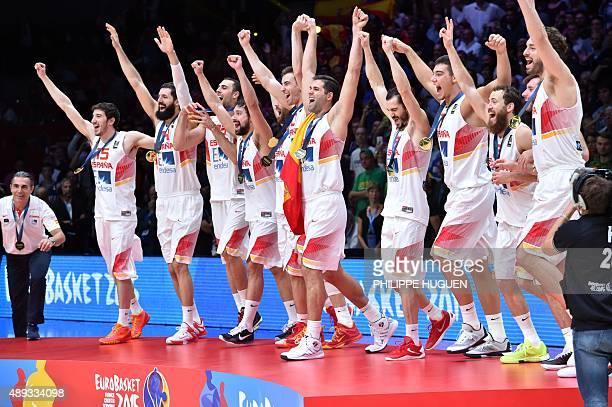 Spain's head coach Sergio Scariolo Spain's point guard Guillem Vives Spain's center Nikola Mirotic Spain's power forward Pablo Aguilar Spain's point...