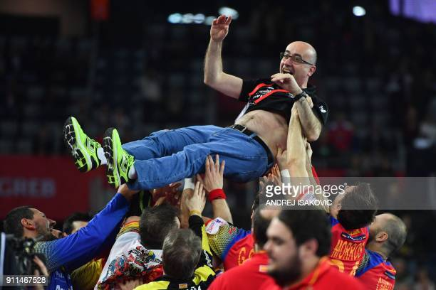 Spain's headcoach Jordi Ribera is being thrown in the air after Spain won the final match of the Men's 2018 EHF European Handball Championship...