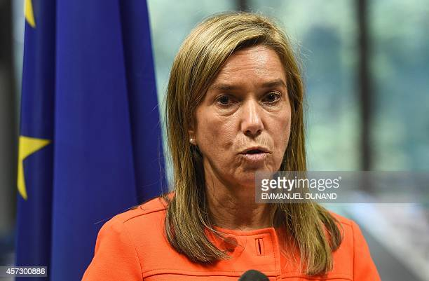 Spain's Health Minister Ana Mato gives a press conference after an EU ministerial meeting focused on EU public health mesures on the Ebola epidemic...