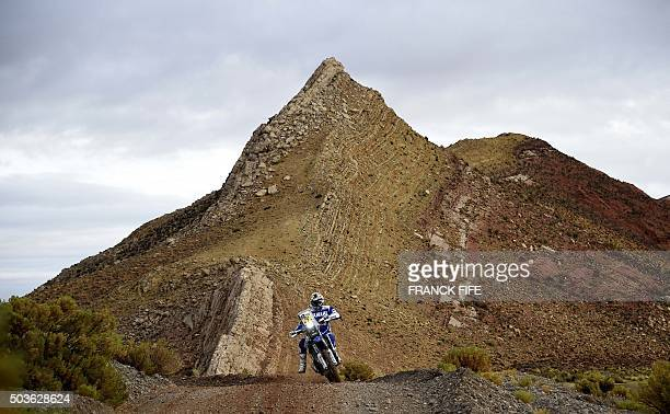Spain's Helder Rodriguez powers his Yamaha during the Stage 4 of the 2016 Dakar Rally around Jujuy, in Argentina, on January 6, 2016. AFP PHOTO /...