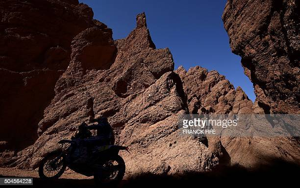 Spain's Helder Rodriguez powers his Yamaha during the Stage 8 of the 2016 Dakar Rally between Salta and Belen Argentina on January 11 2016 AFP PHOTO...