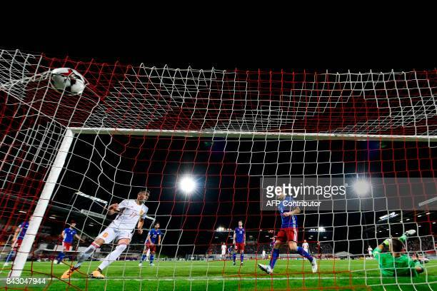 Spain's Iago Aspas reacts after scoring a goal against Liechtenstein's goalkeeper Peter Jehle during the FIFA World Cup 2018 qualification football...