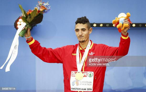 OUT*** Spain's Ilias Fifa reacts during the medal ceremony of the men's 5000m Final at the European Athletics Championships at the Olympic Stadium in...
