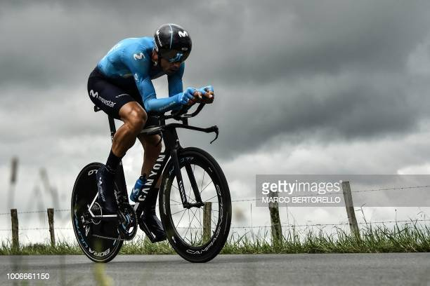 Spain's Imanol Erviti rides during the 20th stage of the 105th edition of the Tour de France cycling race a 31kilometer individual timetrial between...
