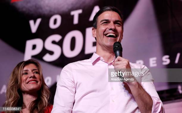 Spains incumbent Prime Minister and Spanish Socialist Workers' Party leader Pedro Sanchez addresses supporters outside of the PSOE headquarters on...