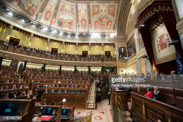 Spain's interim Prime Minister Pedro Sánchez speaks during the investiture debate at the Spanish Parliament on January 04 2020 in Madrid Spain...