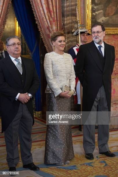 Spain's Interior Minister Juan Ignacio Zoido Spain's Defence Minister Maria Dolores de Cospedal and Spanish Prime Minister Mariano Rajoy attend the...