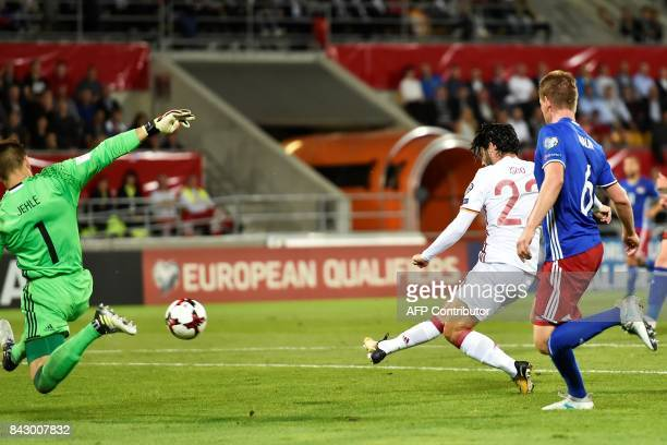Spain's Isco scores a goal during the FIFA World Cup 2018 qualification football match between Liechtenstein and Spain on September 5 2017 in Vaduz /...