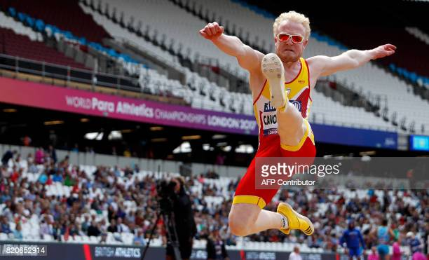 Spain's Ivan Jose Cano Blanco competes in the Men's Long Jump T13 Final during the World Para Athletics Championships in London on July 22 2017 / AFP...