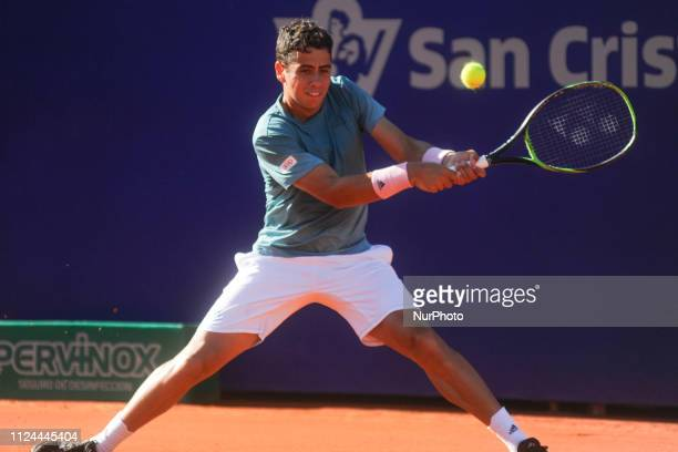 Spain's Jaume Munar hits a return against Argentina's Federico Delbonis at the Argentina Open ATP on February 12 2019 in Buenos Aires Argentina