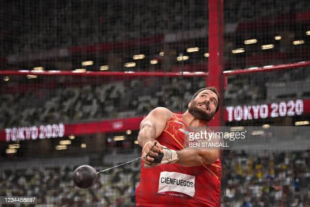 Spain's Javier Cienfuegos competes in the men's hammer throw final during the Tokyo 2020 Olympic Games at the Olympic Stadium in Tokyo on August 4,...