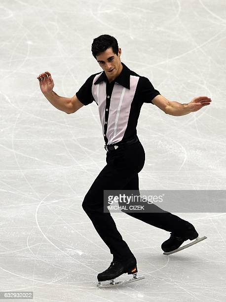Spain's Javier Fernandez competes during the men's free skating competition of the European Figure Skating Championship in Ostrava Czech Republic on...