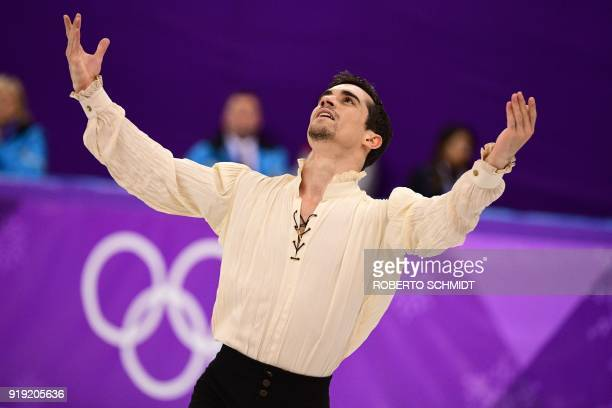 Spain's Javier Fernandez competes in the men's single skating free skating of the figure skating event during the Pyeongchang 2018 Winter Olympic...