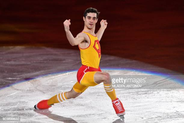 Spain's Javier Fernandez performs during the figure skating gala event during the Pyeongchang 2018 Winter Olympic Games at the Gangneung Oval in...