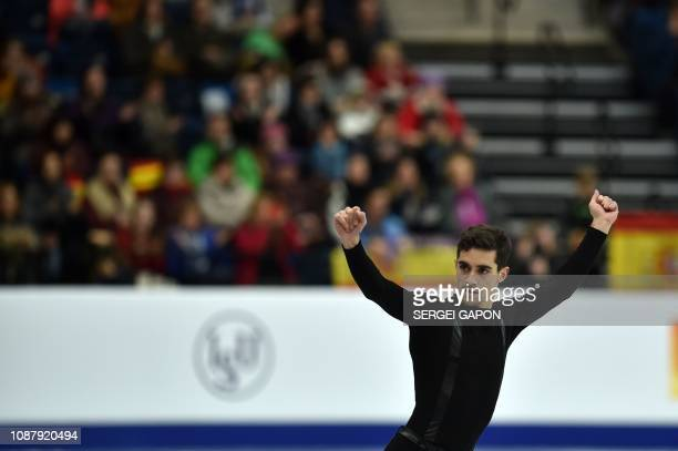 Spain's Javier Fernandez performs in the men's short program at the ISU European Figure Skating Championships in Minsk on January 24 2019