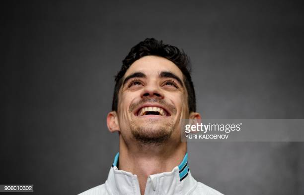 Spain's Javier Fernandez reacts after performing his routine in the men's short program at the ISU European Figure Skating Championships in Moscow on...