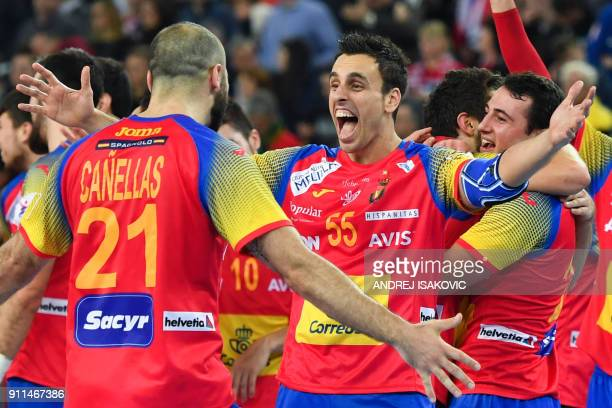 Spain's Joan Canellas and Spian's Adrian Figueras celebrate winning the final match of the Men's 2018 EHF European Handball Championship between...
