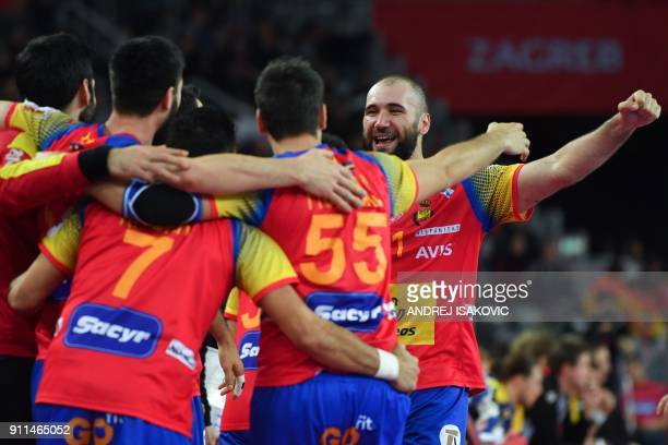 Spain's Joan Canellas reacts during the final match of the Men's 2018 EHF European Handball Championship between Spain and Sweden on January 28 2018...