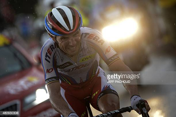 Spain's Joaquim Rodriguez rides in a breakaway during the 195 km twelfth stage of the 102nd edition of the Tour de France cycling race on July 16...