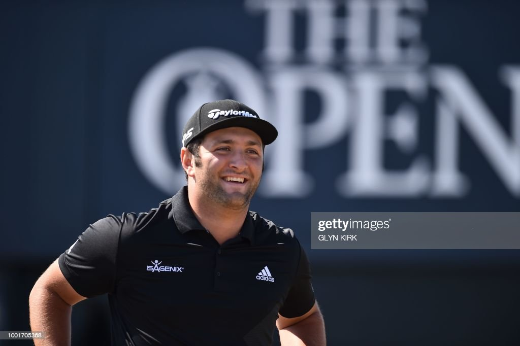 Spain's Jon Rahm reacts to his enormous drive on the 3rd tee which made it to the putting surface during his first round on day one of The 147th Open golf Championship at Carnoustie, Scotland on July 19, 2018.