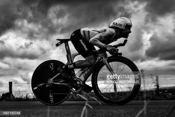 Spain's Jonathan Castroviejo rides during the 20th stage of the 105th edition of the Tour de France cycling race a 31kilometer individual timetrial...