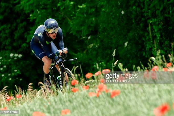 Spain's Jorge Arcas rides during a 235 km individual timetrial the fourth stage of the 69th edition of the Criterium du Dauphine cycling race on June...