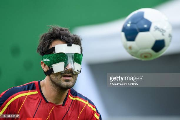Spain's Jose Luis Giera follows a ball during their men's football 5aside preliminary match against China in the Rio 2016 Paralympic Games at Olympic...