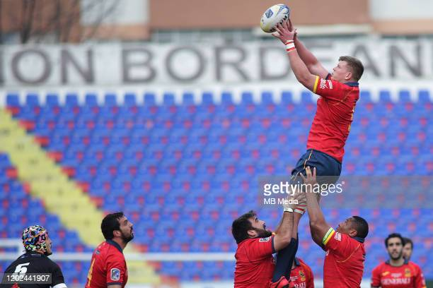 Spain's Joshua Peters catching the ball during the Rugby Europe International Championship round three match between Romania and Spain at Botosani...