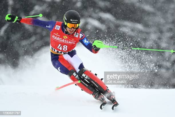 Spain's Juan Del Campo competes during the first run of the slalom event during the FIS Men's Alpine Ski World Cup in Flachau, Austria, on January...