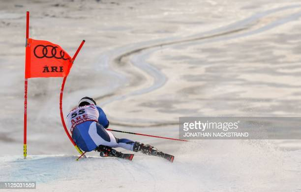 Spain's Juan Del Campo competes in the first run of the men's Giant slalom event at the 2019 FIS Alpine Ski World Championships at the National Arena...