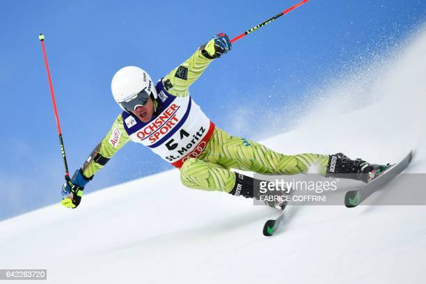 Spain's Juan Del Campo competes in the first run of the men's giant slalom race at the 2017 FIS Alpine World Ski Championships in St Moritz on...