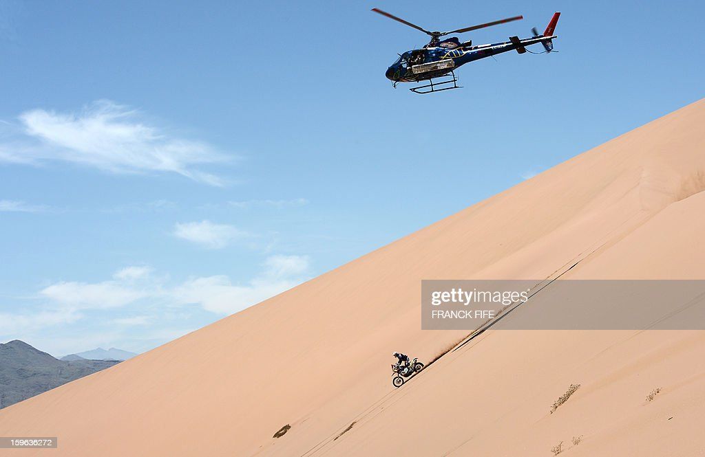 Spain's Juan Garcia Pedrero competes during the Stage 12 of the Dakar 2013 between Fiambala, Argentina and Copiapo, Chile, on January 17, 2013. The rally takes place in Peru, Argentina and Chile between January 5 and 20.