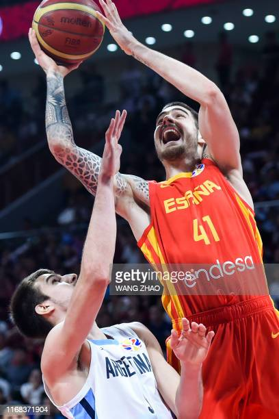 Spain's Juan Hernangomez takes a shot during the Basketball World Cup final game between Argentina and Spain in Beijing on September 15 2019