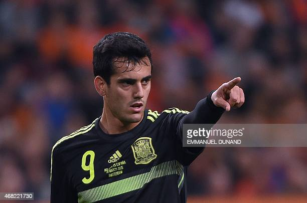 Spain's Juanmi gestures during the friendly football match Netherlands vs Spain in Amsterdam on March 31 2015 AFP PHOTO/Emmanuel Dunand