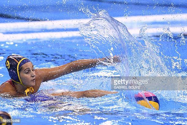 Spain's Judith Forca Ariza is pictured playing against Russia during their Rio 2016 Olympic Games water polo quarterfinal game at the Olympic...