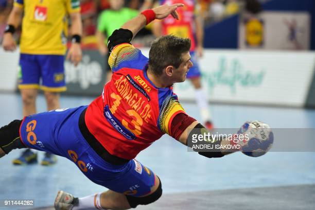 Spain's Julen Aguinagalde jumps to shoot on goal during the final match of the Men's 2018 EHF European Handball Championship between Spain and Sweden...