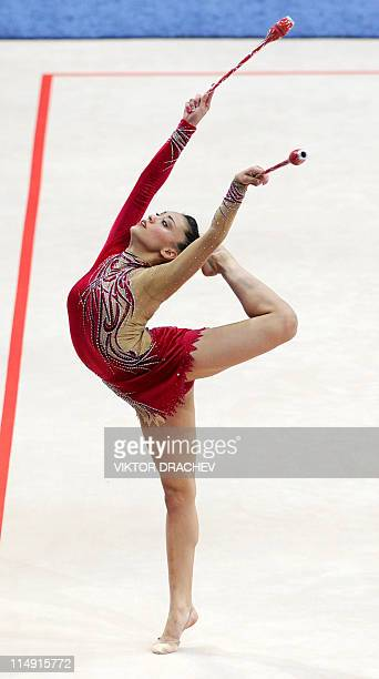 Spain's Julia Uson Carvajal performs with the clubs during the seniors individual competition at the 27th Rhythmic Gymnastics European Championships...