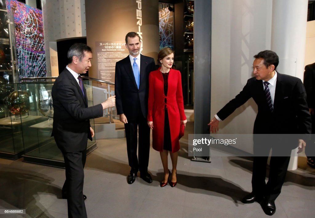 Spain's King Felipe (2nd L) and Queen Letizia (3rd R) is escorted by executive director of the museum and former astronaut Mamoru Mori (R) and 2015 Nobel Prize in Physics winner Takaaki Kajita as they visit at Miraikan (National Museum of Emerging Science and Innovation) on April 5, 2017 in Tokyo, Japan. King Felipe VI and Queen Letizia are visiting Japan from April 4 to April 7, 2017.