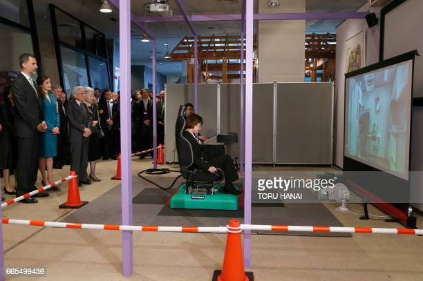 Spain's King Felipe Queen Letizia Japan's Emperor Akihito and Empress Michiko visit an earthquake disaster prevention center in Shizuoka on April 7...