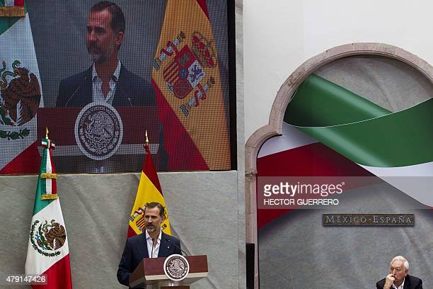 Spain's King Felipe speaks at the Manuel Felguerez Museum in Zacatecas Mexico on July 1 2015 The Spanish royals are making their first state visit to...