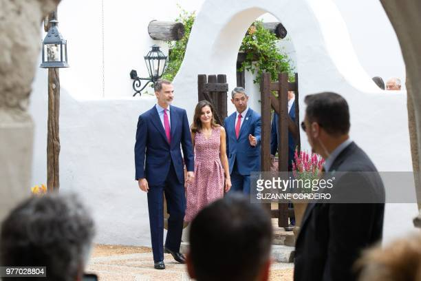 Spain's king Felipe VI and his wife queen Letizia arrive at the Spanish Governors Office in San Antonio Texas to attend a welcome ceremony hosted by...