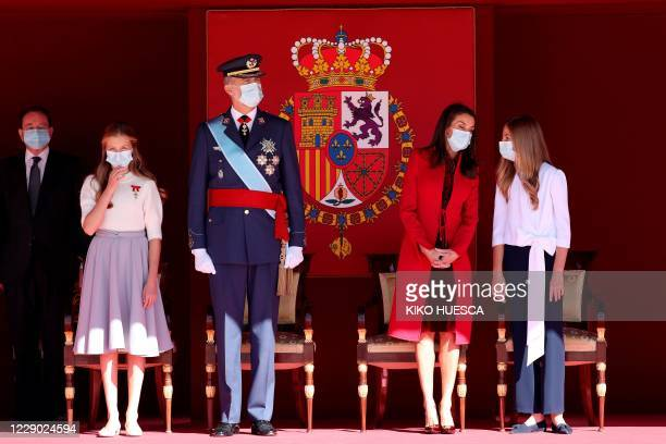 Spain's King Felipe VI and Queen Letizia and their daughters Spanish Crown Princess Leonor and Princess Sofia attend Spain's National Day ceremony at...