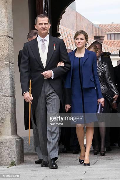 Spain's King Felipe VI and Queen Letizia arrive at the Alcala de Henares University to attend the Cervantes literary award ceremony in Alcala de...